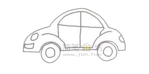 轿车简笔画绘画步骤【彩色】(3)