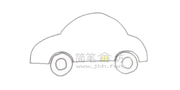 轿车简笔画绘画步骤【彩色】(2)