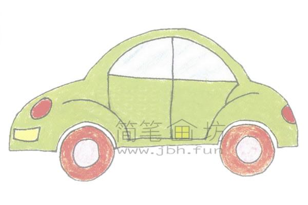 轿车简笔画绘画步骤【彩色】(4)