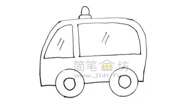 救护车简笔画图片绘画步骤(5)