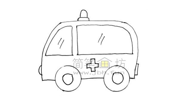 救护车简笔画图片绘画步骤(7)