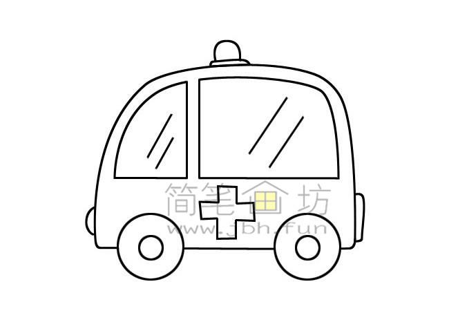 救护车简笔画图片绘画步骤(8)