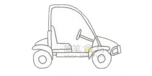 可爱的卡丁车简笔画绘画步骤【彩色】(3)