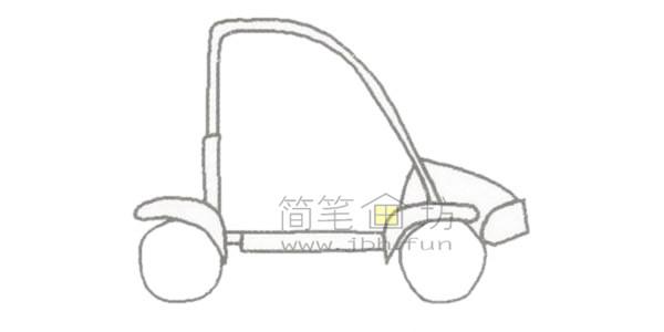 可爱的卡丁车简笔画绘画步骤【彩色】(1)