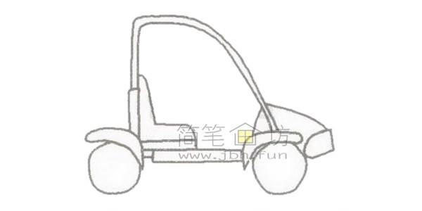 可爱的卡丁车简笔画绘画步骤【彩色】(2)