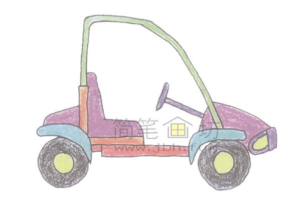 可爱的卡丁车简笔画绘画步骤【彩色】(4)