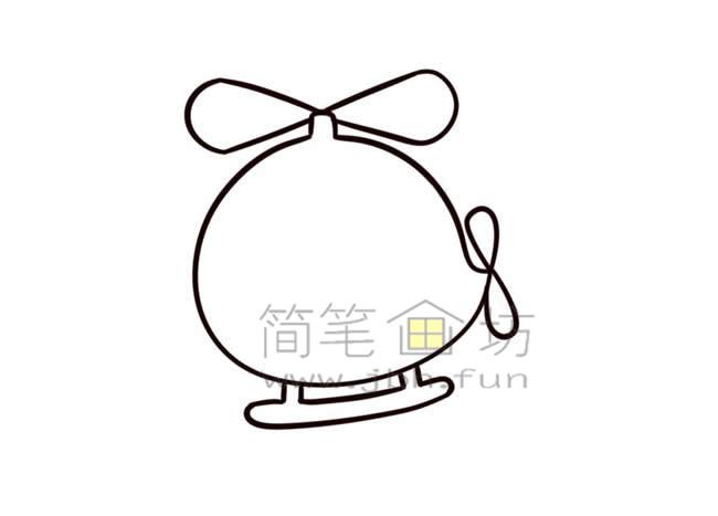 Q版直升机简笔画画法教程【彩色】(8)
