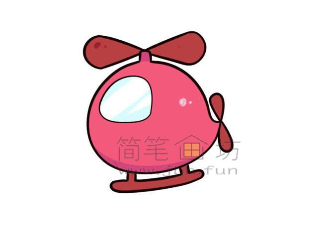 Q版直升机简笔画画法教程【彩色】(10)
