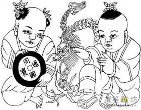 春节童子简笔画