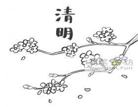 清明节桃花的简笔画图片