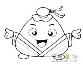 古代装扮的卡通粽子简笔画素材