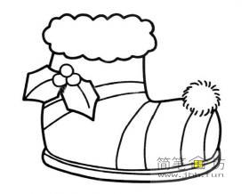 圣诞靴子简笔画图片