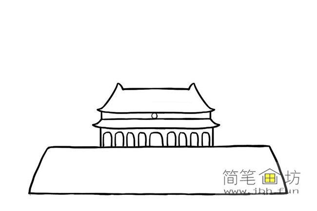 国庆70周年儿童画-庆国庆天安门礼花齐放简笔画教程【彩色】(5)