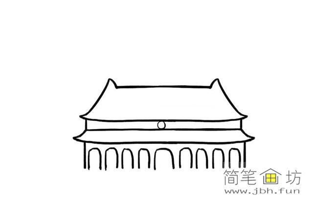 国庆70周年儿童画-庆国庆天安门礼花齐放简笔画教程【彩色】(4)