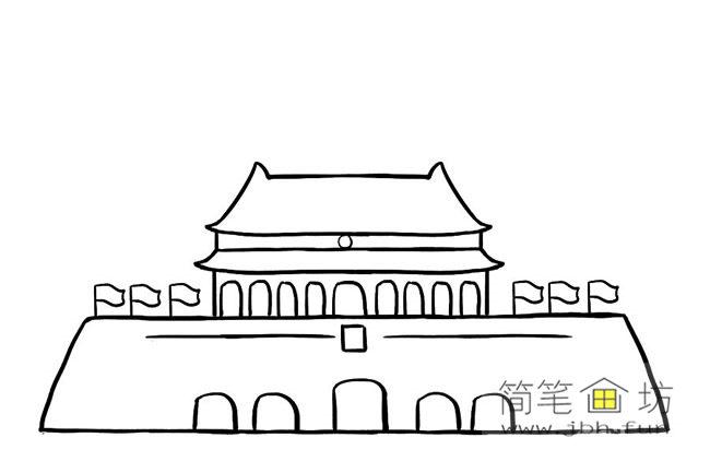 国庆70周年儿童画-庆国庆天安门礼花齐放简笔画教程【彩色】(6)