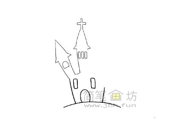 万圣节城堡简笔画的绘画教程【彩色】(2)
