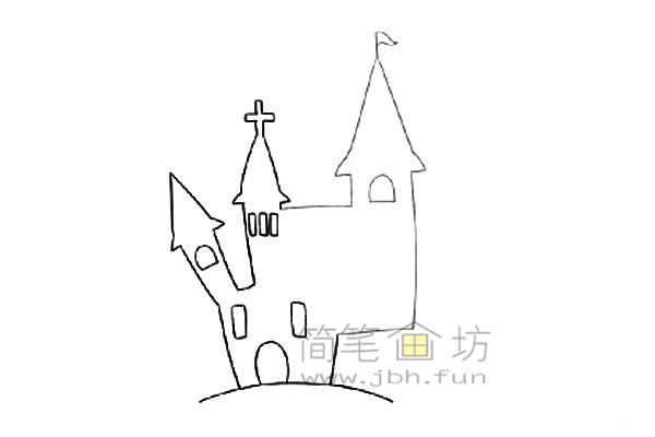万圣节城堡简笔画的绘画教程【彩色】(3)