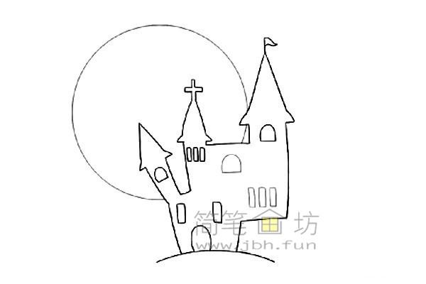 万圣节城堡简笔画的绘画教程【彩色】(4)