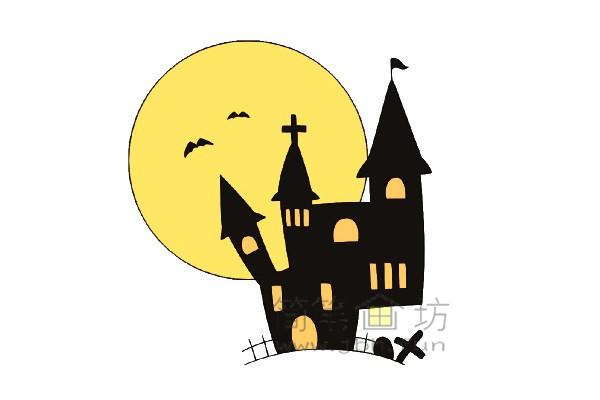 万圣节城堡简笔画的绘画教程【彩色】(7)