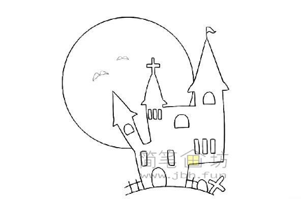 万圣节城堡简笔画的绘画教程【彩色】(6)
