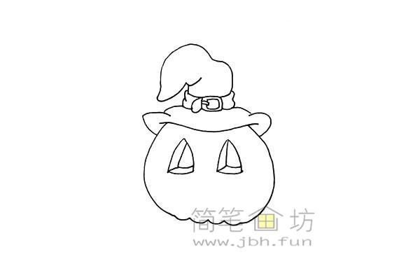 搞怪的万圣节南瓜灯简笔画画法教程【彩色】(7)