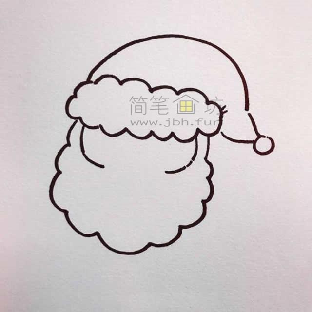 儿童简笔画:几招学会画和蔼的圣诞老爷爷简笔画【彩色】(2)