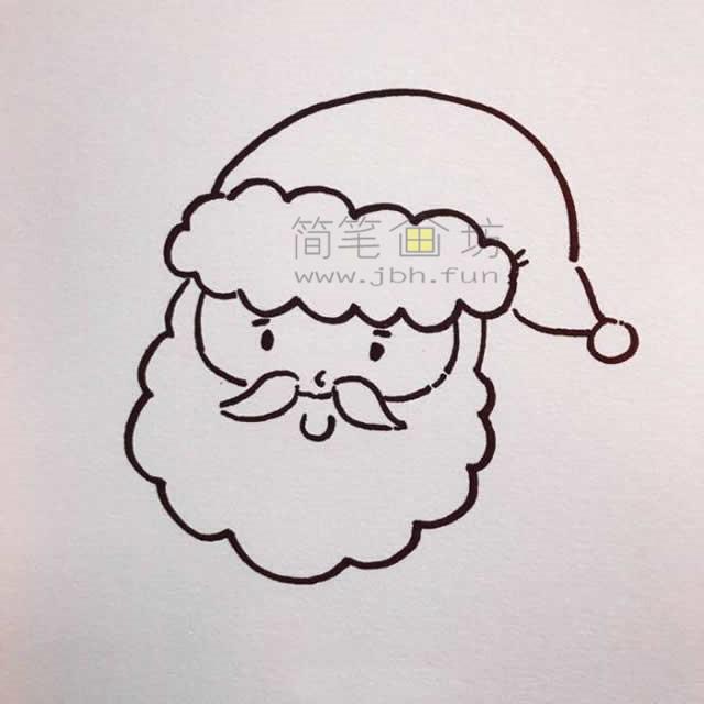 儿童简笔画:几招学会画和蔼的圣诞老爷爷简笔画【彩色】(3)