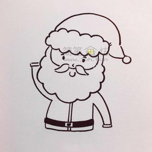 儿童简笔画:几招学会画和蔼的圣诞老爷爷简笔画【彩色】(4)