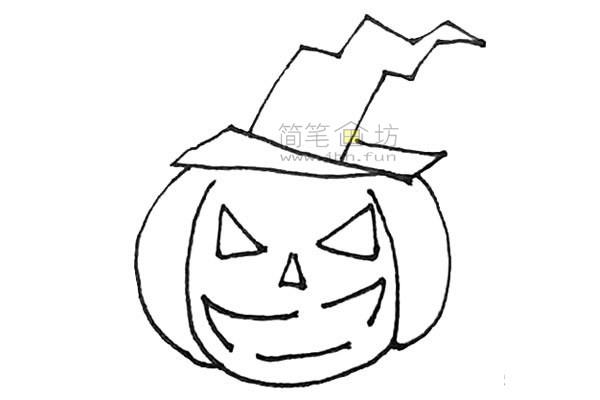 学画戴着女巫帽的圣诞节南瓜简笔画【彩色】(6)