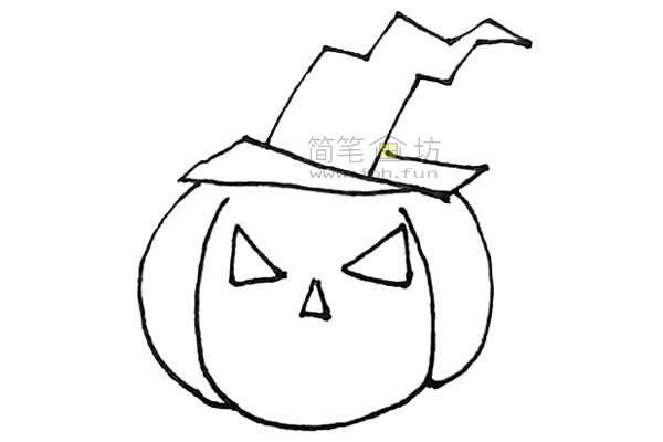学画戴着女巫帽的圣诞节南瓜简笔画【彩色】(5)