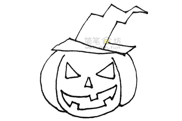 学画戴着女巫帽的圣诞节南瓜简笔画【彩色】(7)