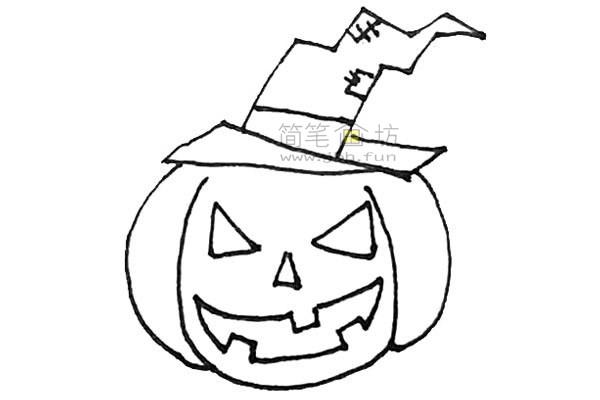 学画戴着女巫帽的圣诞节南瓜简笔画【彩色】(8)