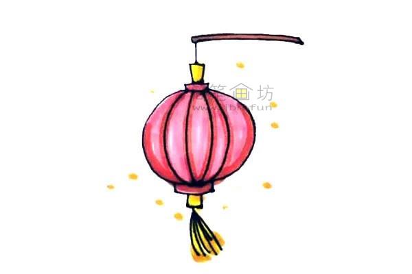 灯笼简笔画绘画步骤及图片大全【彩色】(7)