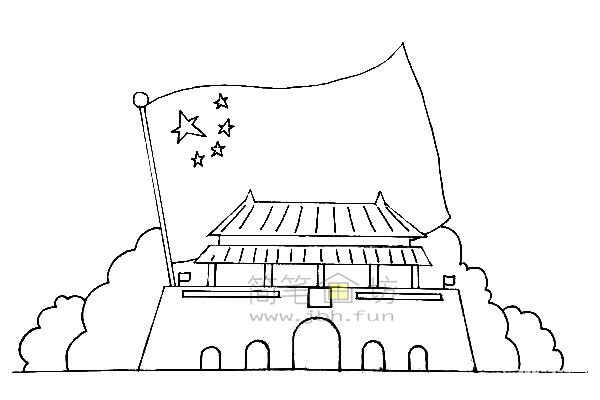 欢度国庆主体儿童简笔画【彩色】(3)