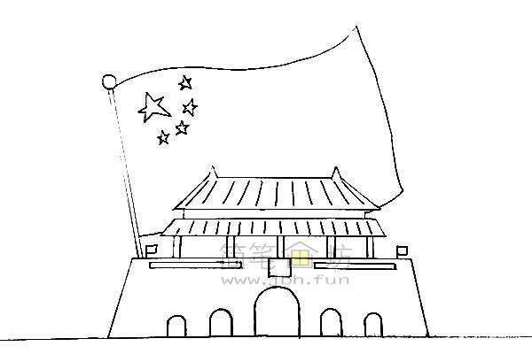 欢度国庆主体儿童简笔画【彩色】(2)