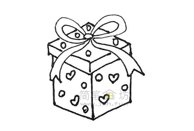 好看的圣诞礼物盒简笔画画法【彩色】(7)