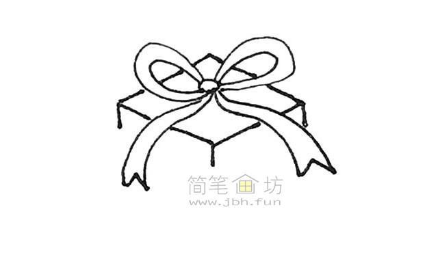 好看的圣诞礼物盒简笔画画法【彩色】(4)
