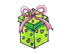 好看的圣诞礼物盒简笔画画法【彩色】