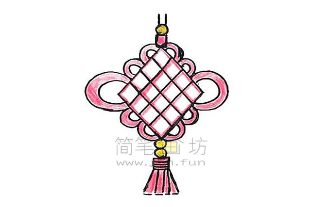 好看的中国结简笔画绘画步骤教程【彩色】(9)