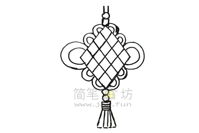 好看的中国结简笔画绘画步骤教程【彩色】(8)