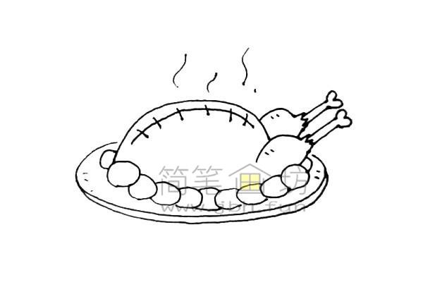 美味的火鸡简笔画绘画步骤教程【彩色】(7)