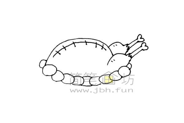 美味的火鸡简笔画绘画步骤教程【彩色】(6)