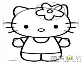 戴着小花的kitty猫简笔画教程