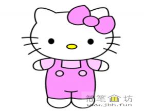 带蝴蝶结的kitty猫卡通简笔画教程【彩色】
