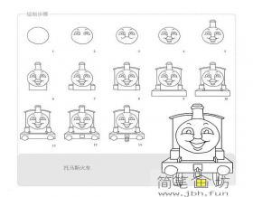 简笔画托马斯火车的画法