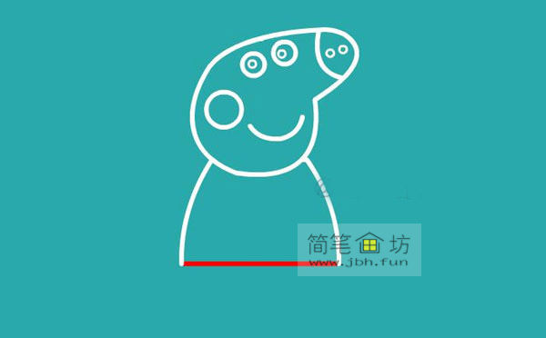 小猪佩奇简笔画分解步骤教程(5)