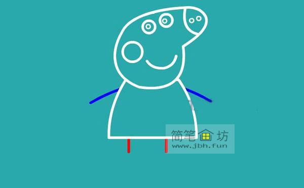 小猪佩奇简笔画分解步骤教程(6)