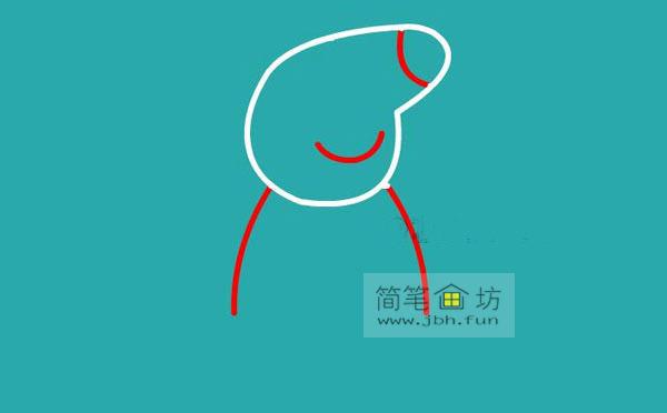 小猪佩奇简笔画分解步骤教程(3)