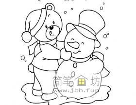 小熊堆雪人简笔画图片