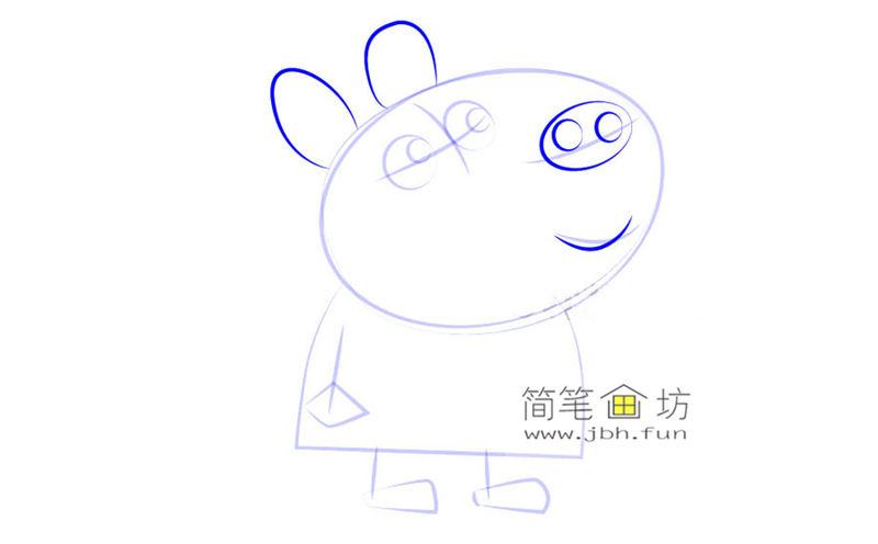 怎么画《小猪佩奇简笔画》-斑马萨萨的画法步骤教程